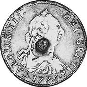 UK 1/2 Dollar Countermarked 1773-1789 (1797) CM Date: ND(1797) KM# A622 CAROLUS∙III∙ DEI∙GRATIA∙*YEAR*∙ coin obverse