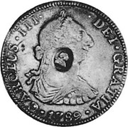UK 1/2 Dollar Countermarked 1785-1789 (1797) CM Date: ND(1797) KM# 622B CAROLUS III DEI GRATIA 1789 coin obverse