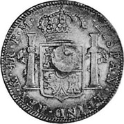 UK 1/2 Dollar Countermarked 1785-1789 (1797) CM Date: ND(1797) KM# 622B HISPAN∙ET IND∙REX∙ MO ∙ 8R ∙F∙M∙ coin reverse