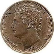 UK 1/2 Farthing George IV 1828 KM# 704.1 GEORGIUS IV DEI GRATIA coin obverse