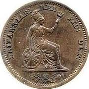 UK 1/2 Farthing George IV 1828 KM# 704.1 BRITANNIAR: REX FID: DEI: coin reverse
