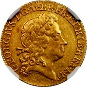 UK 1/2 Guinea George I no elephant and castle below head 1717 KM# 541.1 GEORGIVS ∙ D ∙ G ∙ M ∙ BR ∙ FR ∙ ET ∙ HIB ∙ REX ∙ F ∙ D ∙ coin obverse