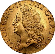 UK 1/2 Guinea George II 1756 KM# 587 GEORGIUS ∙ II ∙ DEI ∙ GRATIA ∙ coin obverse