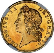 UK 1/2 Guinea (George II E.I.C. below head) KM# 565.2 GEORGIVS∙II∙ DEI∙GRATIA∙ coin obverse
