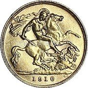 UK 1/2 Sovereign 1910 KM# 804 British Royal Mint Sovereign Coins coin reverse