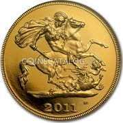 UK 1/2 Sovereign 2011 Proof KM# 1001.1 British Royal Mint Sovereign Coins 2011 B.P. coin reverse