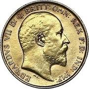 UK 1/2 Sovereign Edward VII 1910 KM# 804 EDWARDUS VII D:G:BRITT:OMN:REX F:D:IND:IMP: coin obverse