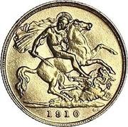UK 1/2 Sovereign Edward VII 1910 KM# 804 1910 B.P. coin reverse