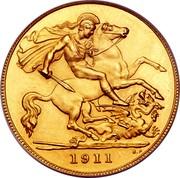 UK 1/2 Sovereign George V 1911 KM# 819 1911 B.P. coin reverse