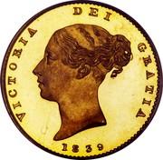 UK 1/2 Sovereign Victoria 1839 KM# 735.1 VICTORIA DEI GRATIA coin obverse