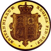 UK 1/2 Sovereign Victoria 1839 KM# 735.1 BRITANNIARUM REGINA FID: DEF coin reverse