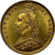 UK 1/2 Sovereign Victoria 1887 KM# 766 VICTORIA DEI GRATIA coin obverse