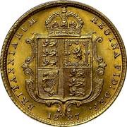UK 1/2 Sovereign Victoria 1887 KM# 766 BRITANNIARUM REGINA FID: DEF coin reverse