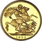 UK 1/2 Sovereign Victoria 1893 KM# 784 B. P. coin reverse