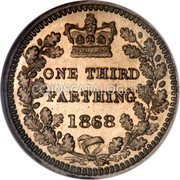 UK 1/3 Farthing 1868 KM# 750 Pre-Decimal coinage coin reverse