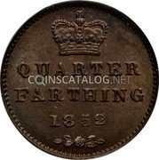 UK 1/4 Farthing 1852 KM# 737 Pre-Decimal coinage coin reverse