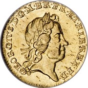 UK 1/4 Guinea George I 1718 KM# 555 GEORGIVS ∙ D ∙ G ∙ M ∙ BR ∙ FR ∙ ET ∙ HIB ∙ REX ∙ F ∙ D ∙ coin obverse