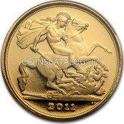 UK 1/4 Sovereign 2011 Proof KM# 1117 British Royal Mint Sovereign Coins 2011 BP coin reverse
