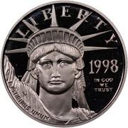 USA $10 American Eagle 1998 W KM# 289 LIBERTY 1998 E PLURIBUS UNUM IN GOD WE TRUST coin obverse