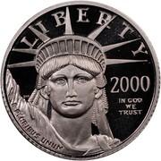 USA $10 American Eagle 2000 W KM# 314 LIBERTY 2000 E PLURIBUS UNUM IN GOD WE TRUST coin obverse