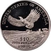 USA $10 American Eagle 2000 W KM# 314 UNITED STATES OF AMERICA .9995 PLATINUM 1/10 OZ. $10 coin reverse