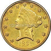 USA $10 Ten Dollars Liberty Gold Eagle 1861 KM# 68 DATE coin obverse