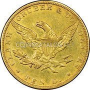 USA $10 Ten Dollars Liberty Gold Eagle 1861 KM# 68 * CLARK GRUBER & CO DENVER * TEN D. coin reverse