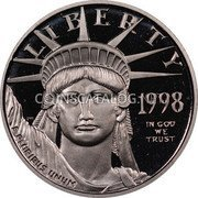 USA $10 Ten Dollars Platinum American Eagle 1998 W KM# 289 LIBERTY 1998 E PLURIBUS UNUM IN GOD WE TRUST coin obverse