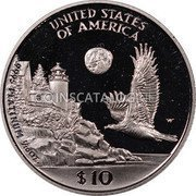 USA $10 Ten Dollars Platinum American Eagle 1998 W KM# 289 UNITED STATES OF AMERICA .9995 PLATINUM 1/10 OZ. $10 coin reverse