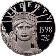 USA $100 American Eagle 1998 W KM# 292 LIBERTY 1998 IN GOD WE TRUST E PLURIBUS UNUM coin obverse