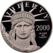 USA $100 American Eagle 2000 W KM# 317 LIBERTY 2000 E PLURIBUS UNUM IN GOD WE TRUST coin obverse