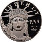 USA $100 One hundred Dollars American Platinum Eagle 1999 W KM# 304 LIBERTY 1999 E PLURIBUS UNUM IN GOD WE TRUST coin obverse
