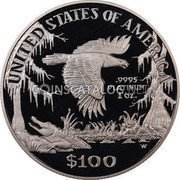 USA $100 One hundred Dollars American Platinum Eagle 1999 W KM# 304 UNITED STATES OF AMERICA .9995 PLATINUM 1 OZ. W $100 coin reverse