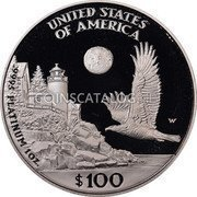 USA $100 One hundred Dollars American Platinum Eagle 1998 W KM# 292 UNITED STATES OF AMERICA W .9995 PLATINUM 1 OZ. $100 coin reverse