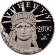 USA $100 One hundred Dollars Platinum American Eagle 2000 W KM# 317 LIBERTY 2000 E PLURIBUS UNUM IN GOD WE TRUST coin obverse