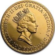 UK 100 Pounds Britannia 1993 British Royal Mint Proof KM# 953a ELIZABETH'II'DEI'GRATIA'REGINA'F'D '100 POUNDS' RDM coin obverse