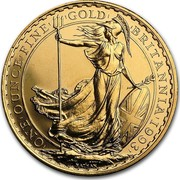 UK 100 Pounds Britannia 1993 British Royal Mint Proof KM# 953a ONE'OUNCE'FINE'GOLD' 'BRITANNIA'1992' NATHAN coin reverse