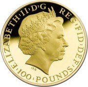 UK 100 Pounds Year of the Horse 2014 British Royal Mint Proof KM# 1283 ELIZABETH'II'D'G REG'FID'DEF'100 POUNDS' IRB coin obverse
