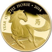 UK 100 Pounds Year of the Horse 2014 British Royal Mint Proof KM# 1283 YEAR OF THE HORSE ∙ 2014 coin reverse
