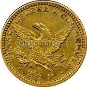 USA $2-1/2 Two and half Dollars 1861 KM# 64.1 Clark, Gruber & Company • CLARK GRUBER & CO DENVER • 2 1/2 D coin reverse