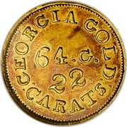 USA $2.50 18XX KM# 76.1 Christopher Bechtler (Georgia) GEORGIA GOLD: CARATS 64. G. 22. coin obverse