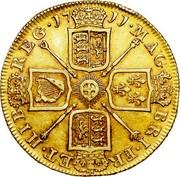 UK 2 Guineas Anne 1711 KM# 531 MAG BRI ∙ FR ET ∙ HIB REG ∙ coin reverse