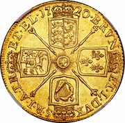 UK 2 Guineas George I 1720 KM# 554 BRVN ET ∙ L ∙ DVX S ∙ R ∙ I ∙ A ∙ TH ET ∙ EL ∙ coin reverse
