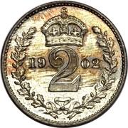 UK 2 Pence Edward VII 1902 Prooflike KM# 796 *YE 2 AR* coin reverse