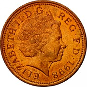 UK 2 Pence Elizabeth II 1998 KM# 987a ELIZABETH∙II∙D∙G REG∙F∙D∙1999 IRB coin obverse