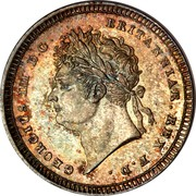 UK 2 Pence George IV 1829 Prooflike KM# 684 GEORGIUS IIII D.G. BRITANNIAR. REX F.D. coin obverse