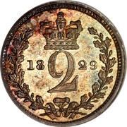 UK 2 Pence George IV 1829 Prooflike KM# 684 2 coin reverse