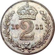 UK 2 Pence George V 1911 Prooflike KM# 812 *YE 2 AR* coin reverse