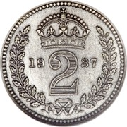 UK 2 Pence George VI 1937 Prooflike KM# 847 *YE 2 AR* coin reverse