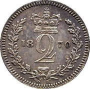 UK 2 Pence Victoria 1870 Prooflike KM# 729 2 coin reverse